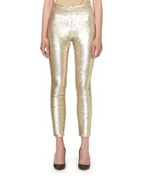 Carolina Herrera Sequined Slim Leg Ankle Pants Gold