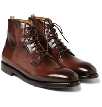 Officine Creative Herve Burnished Leather Boots Brown