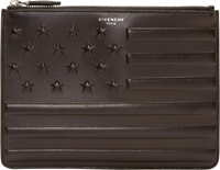 Givenchy Black Leather American Flag Embossed Clutch