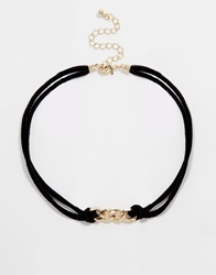 Asos Chain Link Suede Choker Necklace Black