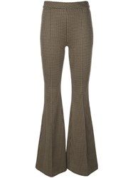 Rosetta Getty Pintuck Flared Trousers Brown