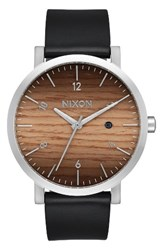 Nixon Men's Rollo Wood Dial Leather Strap Watch 42Mm Black Wood Silver