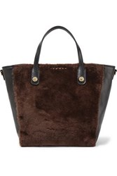 Sandro Alana Leather And Shearling Tote Black