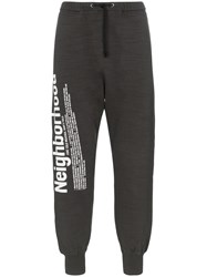 Neighborhood Logo Print Cotton Track Pants Grey