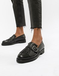 cb42f63f3b0 Office Fisher Chunky Black Leather Fringed Buckle Loafers Black Leather