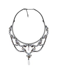 Jenny Packham Crystal And Rose Opal Pendant Necklace Pink