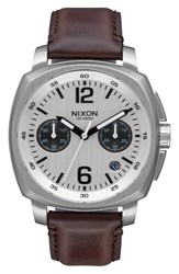 Nixon Men's Charger Chronograph Leather Strap Watch 42Mm Brown White Silver