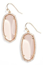 Kendra Scott Women's Elle Pave Drop Earrings Peach Clear Glass Rose Gold