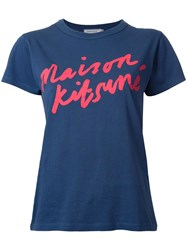 Maison Kitsune Handwriting Logo T Shirt Blue
