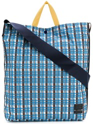 Marni Checked Design Tote Bag Blue