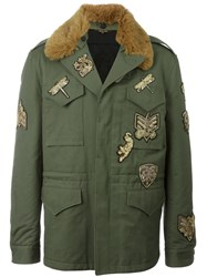 Roberto Cavalli Fur Collar Military Jacket Green