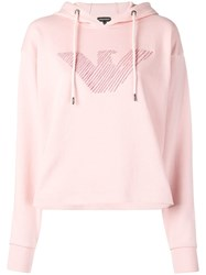 Emporio Armani Embroidered Logo Hoodie Pink