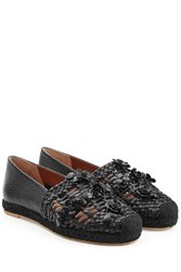 Valentino Woven Leather Loafers Black