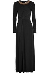 Michael Michael Kors Twist Front Studded Stretch Jersey Gown Black