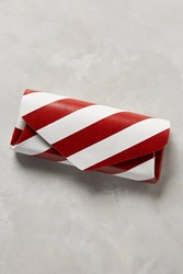 Anthropologie Slanted Stripe Leather Wallet Red