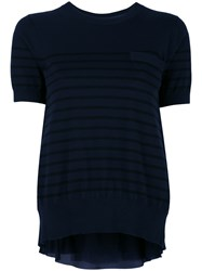 Sacai Cupro Insert Short Sleeved Sweatshirt Blue