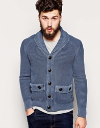 Replay Shawl Cardigan Mesh Knit Blue Denim