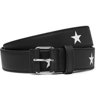 Givenchy 3Cm Star Print Leather Belt Black
