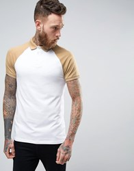 Asos Muscle Polo Shirt With Contrast Raglan In White And Beige White Pricklypear Multi