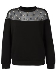 Versus Embellished Sheer Panel Jumper Black