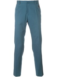 Dolce And Gabbana Embroidered Crown Tailored Trousers Blue