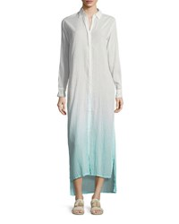 Letarte Button Front Long Ombre Beach Shirtdress Blue