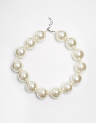 Selected Femme Flin Large Pearl Necklace Cream