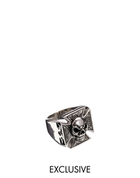 Reclaimed Vintage Skull And Cross Ring Silver