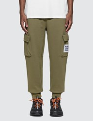 Burberry Logo Print Cotton Trackpants Green