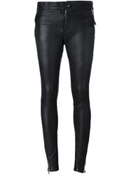 Barbara I Gongini Zip Detail Skinny Trousers Black