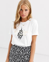 Pieces Mystical Nights Printed T Shirt White