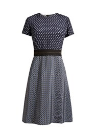 Stella Mccartney Petra Geometric Print Fluted Dress Navy Print