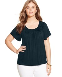 Styleandco. Style And Co. Plus Size Short Sleeve Pleated Top Industrial Blue