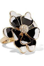 Kenneth Jay Lane Gold Tone Crystal Ring Black