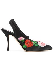 Dolce And Gabbana Rose Print Slingback Mules Black