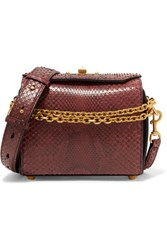 Alexander Mcqueen Box Bag 19 Python Shoulder Bag Red