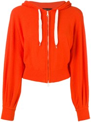 Roberto Collina Cropped Zip Front Hoodie Women Cotton Polyamide L Yellow Orange