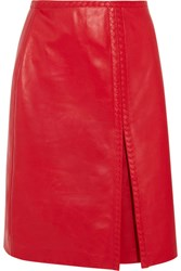 Bottega Veneta Leather Midi Skirt Red