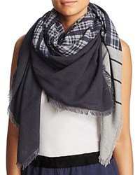 Dkny Pure Plaid Stripe Scarf Classic Navy