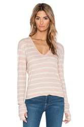 Enza Costa Cashmere Loose V Neck Long Sleeve Tee Beige