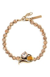Women's Allison Reed Curved Crystal Line Bracelet Gold Champagne