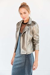 Silence And Noise Shine On Metallic Moto Jacket Silver