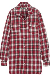 Off White Oversized Checked Wool And Cotton Blend Flannel Shirt Red