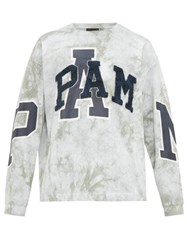 Pam P.A.M. Logo Patch Tie Dye Cotton Sweatshirt Grey Multi