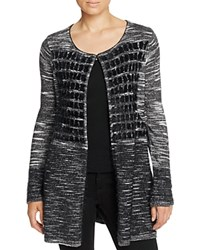 T Tahari Sima Textured Check Cardigan Black Multi