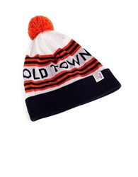 Tuck Shop Co. Old Town Striped Pompom Beanie White