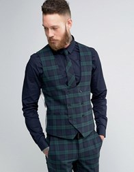 Noose And Monkey Super Skinny Waistcoat In Check Green
