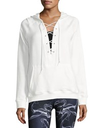 Alala Lace Up Athletic Pullover Hoodie White