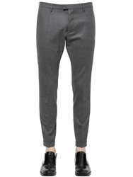 Dsquared 17Cm Cool Guy Stretch Wool Flannel Pants Grey