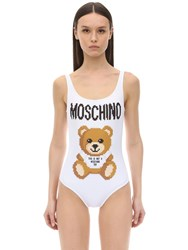 Moschino Teddy And Logo Lycra One Piece Swimsuit White